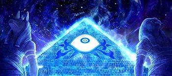 目を見開く画像